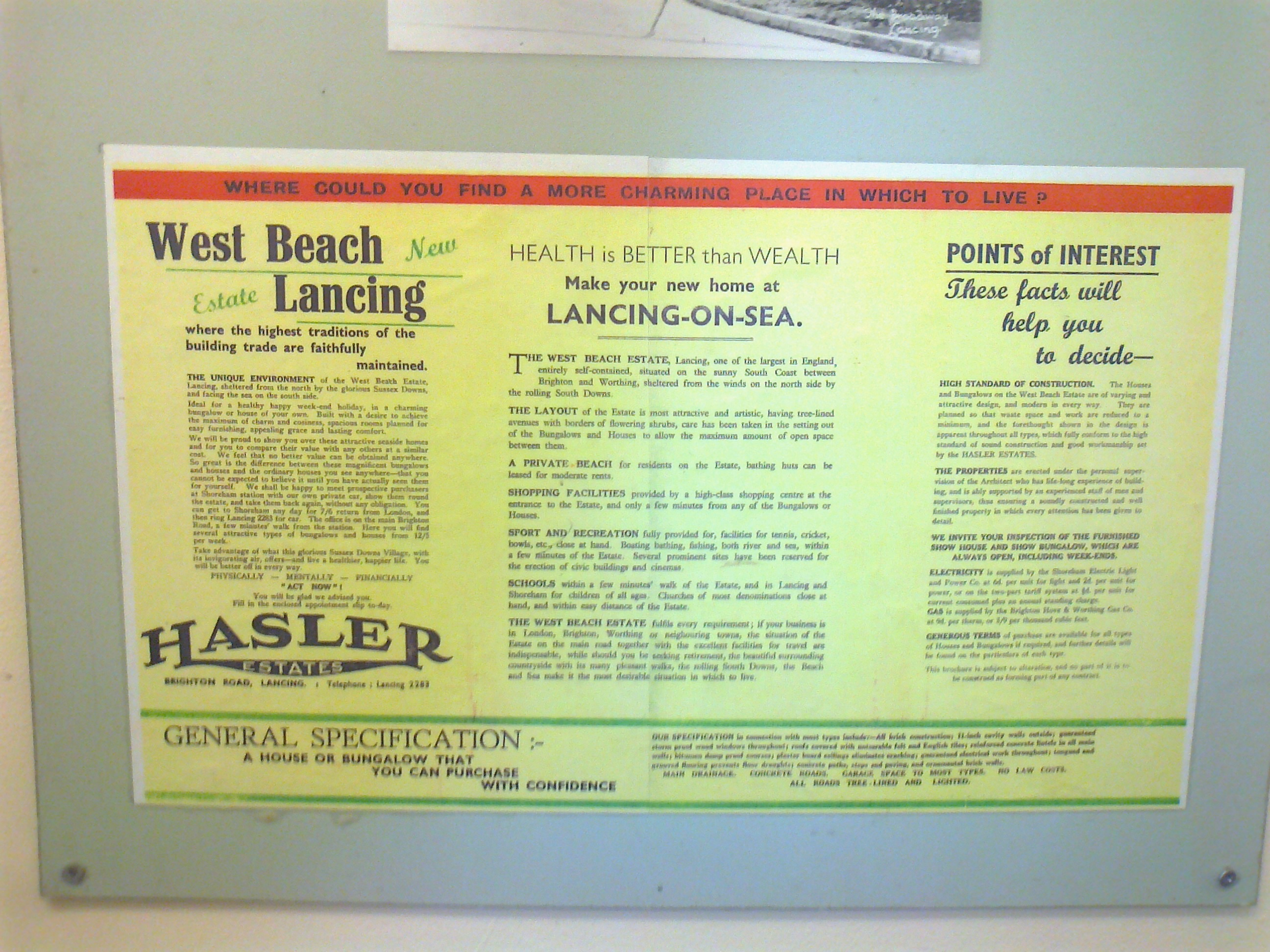 Advertisement for the sale of West Beach homes circa 1930 for the company Hasler Estates.