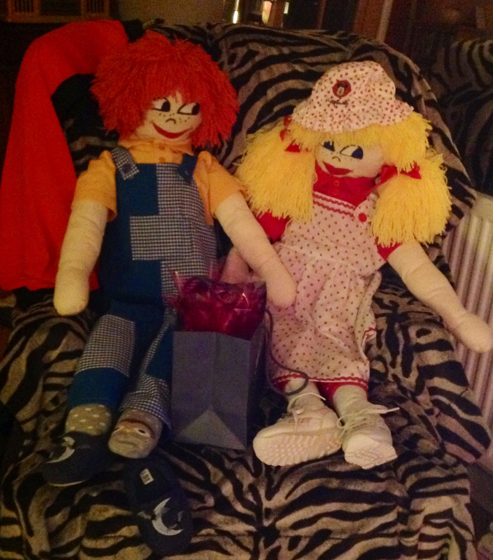 Lovely rags dolls made and donated by resident. For our Christmas Raffle.